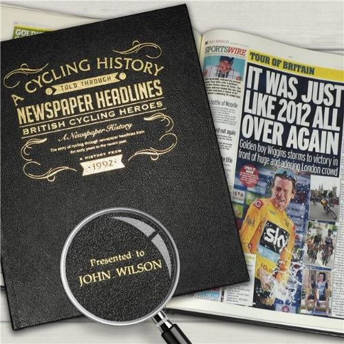 Personalised British Cycling Heroes Newspaper Book